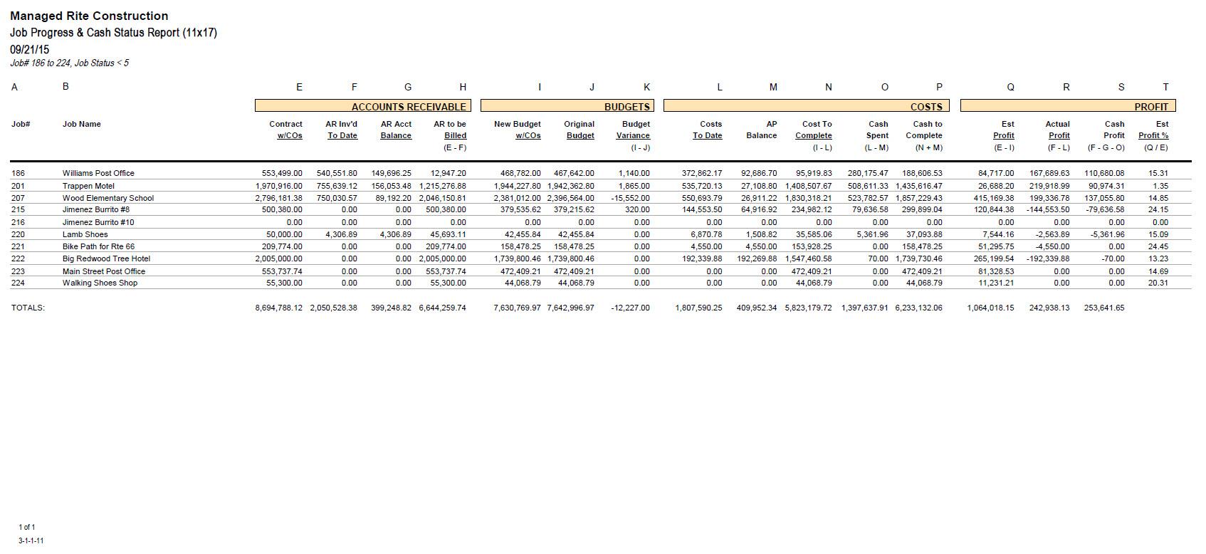 03-01-01-11 Job Progress & Cash Status Report (11x17)