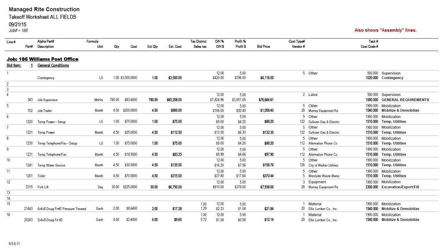 09-05-00-11 Takeoff Worksheet ALL FIELDS
